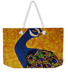 Weekender Tote Bag featuring the tapestry - textile Peacock Blue by Apanaki Temitayo M