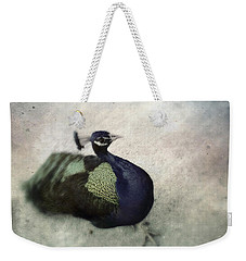Weekender Tote Bag featuring the photograph Peacock by Bradley R Youngberg