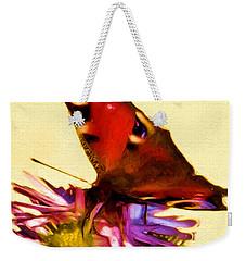 Weekender Tote Bag featuring the digital art Peacock Butterfly by Daniel Janda