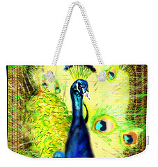 Weekender Tote Bag featuring the drawing Peacock by Daniel Janda