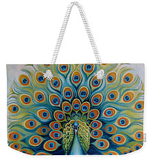 Weekender Tote Bag featuring the painting Peacock by Elena Oleniuc