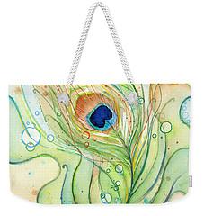 Peacock Feather Watercolor Weekender Tote Bag