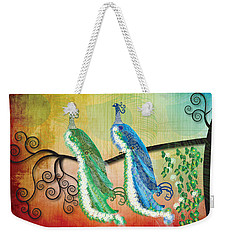 Weekender Tote Bag featuring the digital art Peacock Love by Kim Prowse