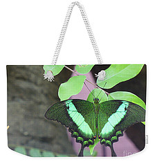 Weekender Tote Bag featuring the photograph Peacock Swallowtail by Lingfai Leung