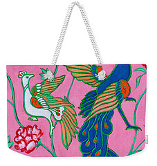 Peacocks Flying Southeast Weekender Tote Bag by Xueling Zou