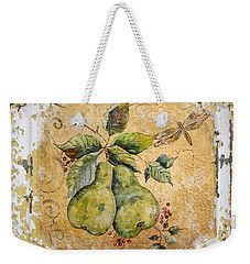 Pears And Dragonfly On Vintage Tin Weekender Tote Bag by Jean Plout