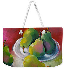 Weekender Tote Bag featuring the painting Pears by Michelle Abrams