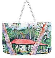 Weekender Tote Bag featuring the painting Peeking Between The Palm Trees 2 by Marionette Taboniar