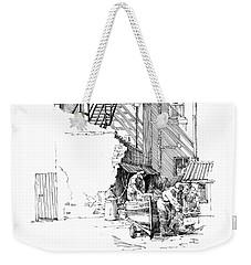 Weekender Tote Bag featuring the drawing Peel Back Street by Paul Davenport