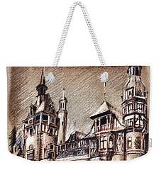 Peles Castle Romania Drawing Weekender Tote Bag