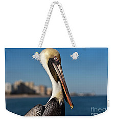 Weekender Tote Bag featuring the photograph Pelican by Barbara McMahon