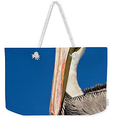 Weekender Tote Bag featuring the photograph Pelican by Les Palenik