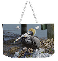 Pelican On Rocks Weekender Tote Bag