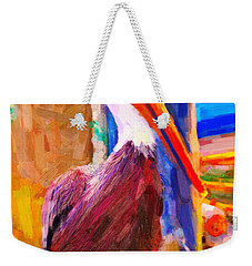 Pelican On The Dock Weekender Tote Bag