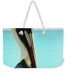 Pelican Profile And Water Weekender Tote Bag by Heather Kirk