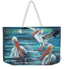 Weekender Tote Bag featuring the pastel Pelican Profile by Peter Suhocke
