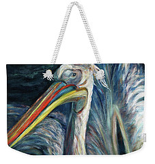 Weekender Tote Bag featuring the painting Pelican by Xueling Zou