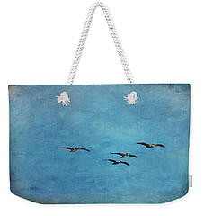 Pelicans In Flight Weekender Tote Bag by Mary Jo Allen