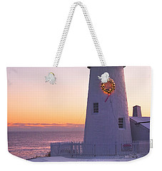Pemaquid Point Lighthouse Christmas Snow Wreath Maine Weekender Tote Bag by Keith Webber Jr