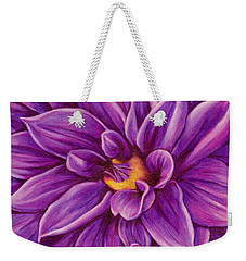 Weekender Tote Bag featuring the drawing Pencil Dahlia by Janice Dunbar