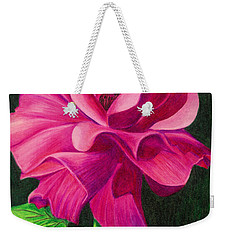 Weekender Tote Bag featuring the drawing Pencil Rose by Janice Dunbar