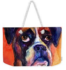 pensive Boxer Dog pop art painting Weekender Tote Bag