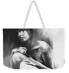 Weekender Tote Bag featuring the drawing Pensive by Paul Davenport