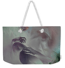 Weekender Tote Bag featuring the drawing Pensive With Texture 2 by Paul Davenport