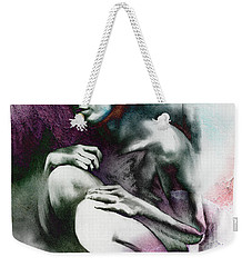 Weekender Tote Bag featuring the drawing Pensive With Texture by Paul Davenport
