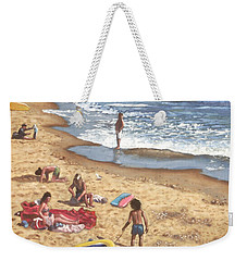 people on Bournemouth beach Blue Sea Weekender Tote Bag