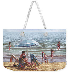 People On Bournemouth Beach Parasol Weekender Tote Bag by Martin Davey
