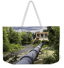 Weekender Tote Bag featuring the photograph Pepperell Hydro Station - Penstock by Betty Denise