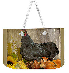 Weekender Tote Bag featuring the photograph Pepper's Autumn Stroll by Donna Brown