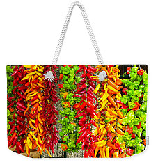Weekender Tote Bag featuring the photograph Peppers For Sale by Mike Ste Marie