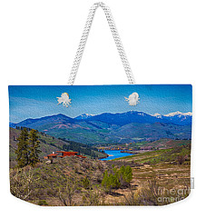 Weekender Tote Bag featuring the painting Perrygin Lake In The Methow Valley Landscape Art by Omaste Witkowski