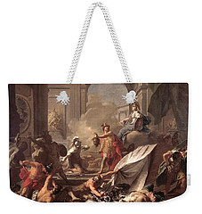 Perseus, Under The Protection Of Minerva, Turns Phineus To Stone By Brandishing The Head Of Medusa Weekender Tote Bag by Jean-Marc Nattier