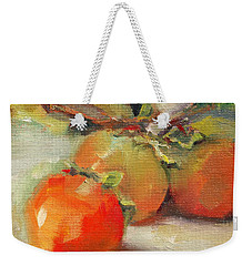 Weekender Tote Bag featuring the painting Persimmons by Michelle Abrams