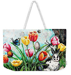 Weekender Tote Bag featuring the painting Peters Easter Garden by Shana Rowe Jackson