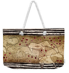 Petroglyph - Ensemble Of Red Dots And Short Strokes - Prehistoric Art - The Plains - Prarie Country Weekender Tote Bag