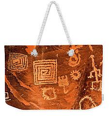 Petroglyph Symbols Weekender Tote Bag by Phyllis Denton