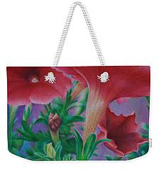 Weekender Tote Bag featuring the painting Petunia Skies by Pamela Clements