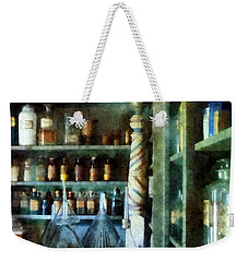 Weekender Tote Bag featuring the photograph Pharmacy - Back Room Of Drug Store by Susan Savad