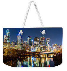 Philadelphia Cityscape Panorama By Night Weekender Tote Bag