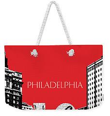 Philadelphia Skyline Love Park - Red Weekender Tote Bag