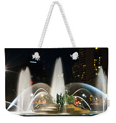 Weekender Tote Bag featuring the photograph Philadelphia - Swann Fountain - Night by Bill Cannon