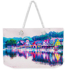 Weekender Tote Bag featuring the photograph Philadelphia's Boathouse Row On The Schuylkill River by Bill Cannon