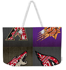 Phoenix Sports Fan Recycled Vintage Arizona License Plate Art Diamondbacks Suns Coyotes Cardinals Weekender Tote Bag