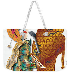 Weekender Tote Bag featuring the digital art Piano Man by Marvin Blaine
