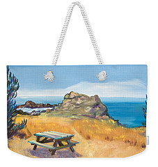 Picnic Table And Ocean With Yellow Field Weekender Tote Bag