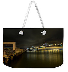 Pier 14 And Bay Bridge At Night Weekender Tote Bag